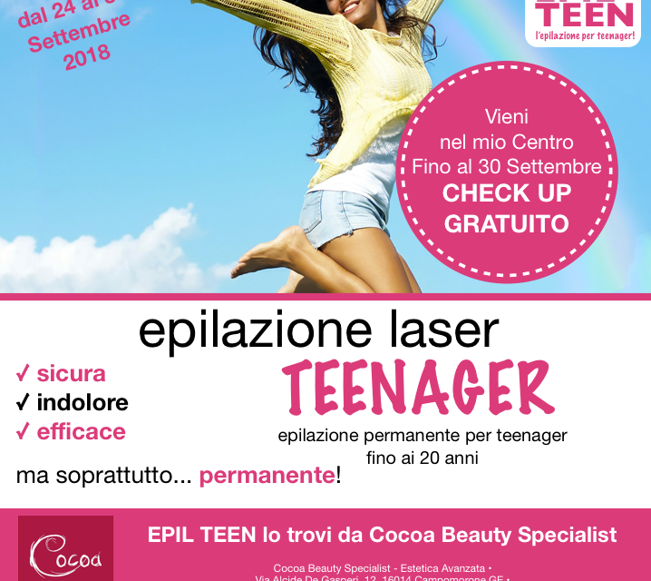 Epilteen. Epilazione specifica per adolescenti.
